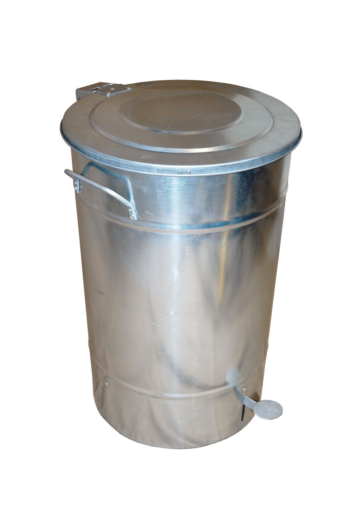 Icke gamla Avfallstunna Greger 30 liter med lock och pedal Galvad | Tunnor i plåt AF-65