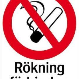 Förbudsskylt - Rökning förbjuden