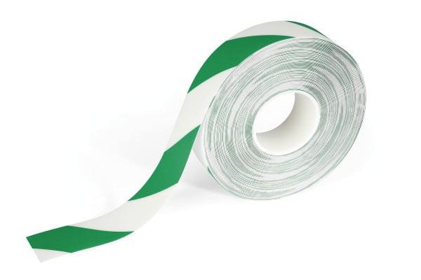 Golvmarkeringstejp Grön/Vit - 30 meter