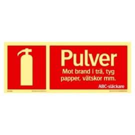 Brandskylt - pulversläckare | Efterlysande 250x100 mm