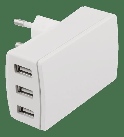 USB Laddare med tre uttag.