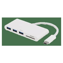 USB-Hubb - USB-C ha till 3xUSB Typ A ho - SD/microSD-kortläsare