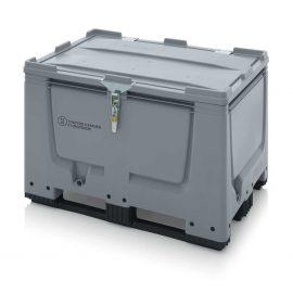 UN Godkänd pallcontainer i plast 1200x800x790 mm - Låsbar