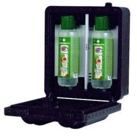 Värmeskåp med plats för 2 Cederroth ögonduschflaskor