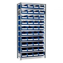 Backställ med 40 lagerlådor i plast | 2100x1040x400 mm