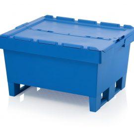 Pallbox i plast 800x600x440 mm - med gångjärnslock