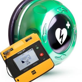 Hjärtstartare LifePak 1000 inklusive larmat skåp från Rotaid