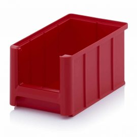 Röda lagerlådor i plast - 9 storlekar